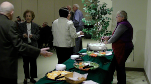 Guests enjoying the appetizer bar at 75th anniversary event sponsored by Middletown Valley Bank